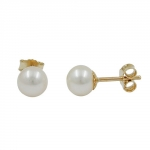EARRINGS, PEARL, 6MM, 9K GOLD