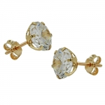 EARRINGS, CUBIC ZIRCONIA, 8MM, 9K GOLD