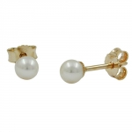 EARRINGS, PEARL 3MM, 9K GOLD