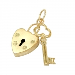 PENDANT, LOCK - KEY, 9K GOLD