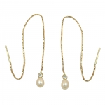 EARRINGS, THREAD, BOX CHAIN, 93MM, 9K GOLD