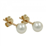 EARRINGS, PEARL 5MM, 9K GOLD