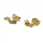 earstuds, worm, dull-shiny, 9K GOLD