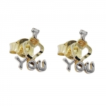 EARRINGS, I LOVE YOU BICOLOUR, 9KT GOLD