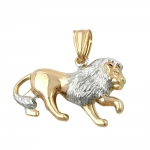PENDANT, LION, TWO TONE, 9K GOLD