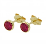 Stud Earrings, Artificial Ruby 4mm, 8K GOLD