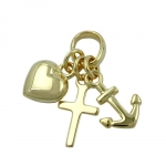 PENDANT, FAITH HOPE AND CHARITY, 9KT GOLD - 430788
