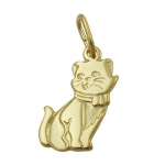 PENDANT, CAT, 8K GOLD