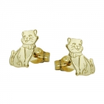 Stud earrings, cats, partly matte-finished, 8K GOLD - 430804