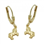EARRINGS, HORSE, 9KT GOLD