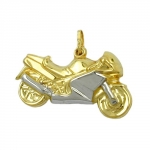 PENDANT, MOTORCYCLE 28MM, 9K GOLD