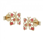 Stud earrings,  butterfly, 9K GOLD
