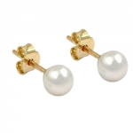 Stud earrings, Freshwater Pearl, 5mm, Gold