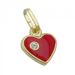 Pendant, Heart, Red Lacquered, 9K Gold