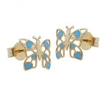 Earring, stud, butterfly, blue, 9k gold