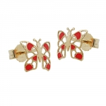 Earring, stud, butterfly, red, 9k gold