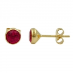 Stud Earrings, Ruby Red, 6mm, 8K Gold