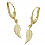 Leverback Earrings, Leaf, Matte finished, 8K Gold