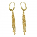 Leverback Earrings, Singapore Chain, 8K Gold - 431082