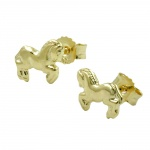 Stud Earrings, Horse, 8K Gold