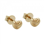 Stud Earrings, Hearts, 4mm, 9K Gold