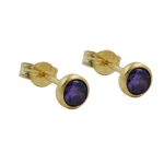 Stud Earrings, Zirconia, Amethyst, 8K Gold