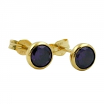 Stud Earrings, Purple Zirconia, 5mm, 8K Gold
