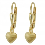 Leverback Earrings, Little heart, 8K Gold