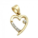 Pendant, Heart with 5 Cubic Zirconia Crystals, 9K Gold