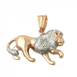Pendant, Lion, Bi-Coloured, 9K Red Gold