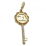 Pendant, Key -21- with Zirconia Crystals, 9K Gold