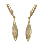 Leverback earrings tricolor 9k gold