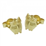 EARRING STUDS, CATS, 9K GOLD