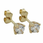 EARRINGS, STUDS, ZIRCONIA 3,5MM, 9K GOLD