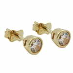 EARRINGS, STUDS, ZIRCONIA 4,5MM, 9K GOLD
