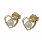 EARRINGS STUDS HEART WITH PEARL, 9K GOLD