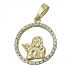 PENDANT, ANGEL AND ZIRCONIAS, 9K GOLD