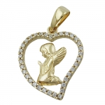 PENDANT, PRAYING ANGEL IN HEART, 9K GOLD