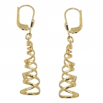 earrings, spiral, polished, 8K GOLD