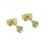stud earrings, 3mm zirconia, 9K GOLD