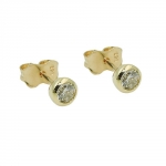 stud earrings, 4mm zirconia, 9K GOLD