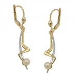 leverback earrings, pearl, 9K GOLD