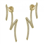 stud earrings, zirconias, 9K GOLD