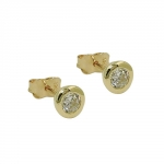 stud earrings, 6mm zirconia, 9K GOLD