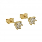 stud earrings, 5mm zirconia, 9K GOLD