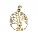 pendant, tree of life, bicolor, 9K GOLD