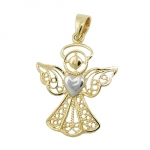 pendant, angel, two tone, 9K GOLD