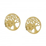 earrings, studs, tree of life, 9K GOLD