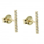 stud earrings, 8 zirconias, 9K GOLD