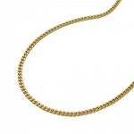 NECKLACE, CURB CHAIN, 2X DIAMOND CUT, 9K GOLD, 45CM